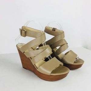 Sole Society Pippy Strappy Wedge Sandal  Taupe Nud